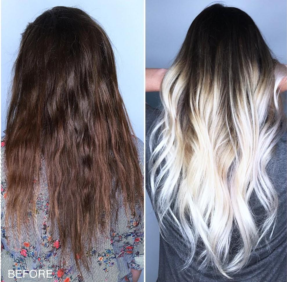 hnědé vlasy blond ombre