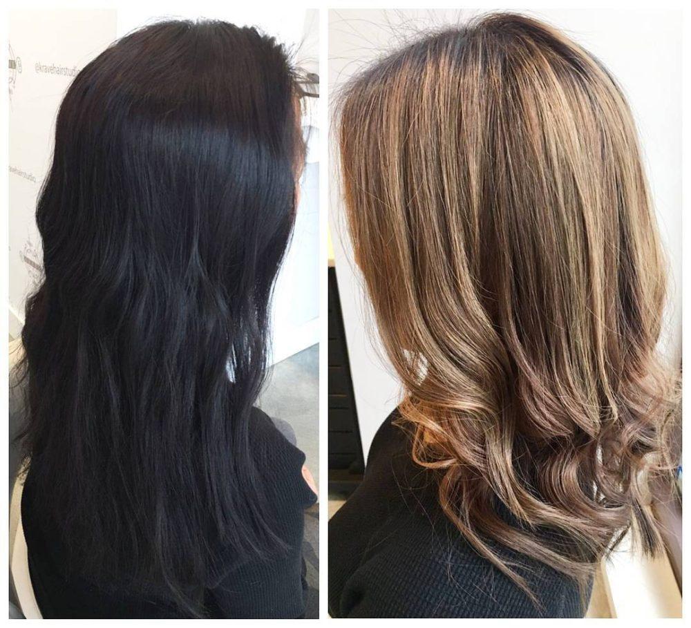 změna z černé barvy vlasů an hnědou