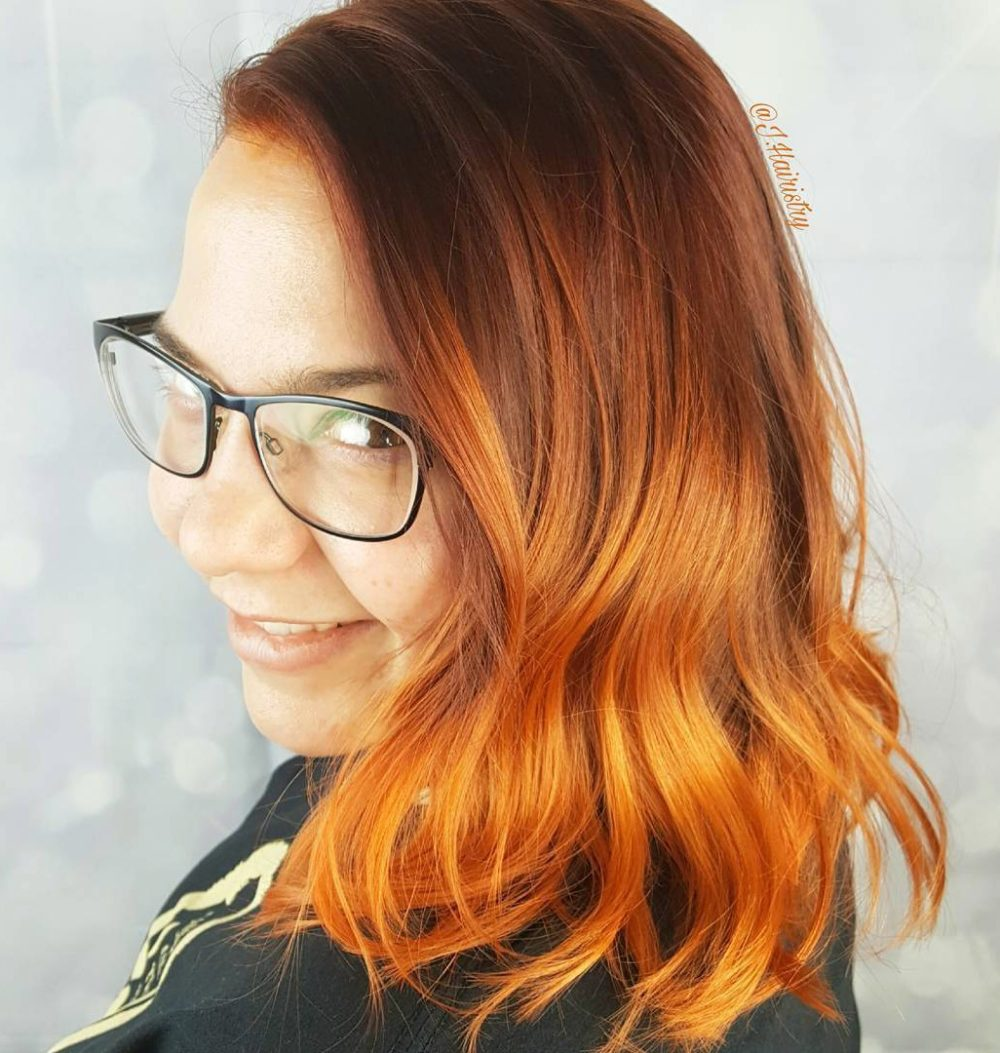 zrzavé ombre polodlouhé vlasy